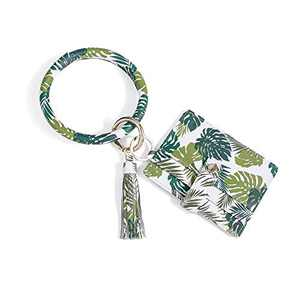Nabegum Palm Leaf Key Ring Wallet Bracelet Green Bangle Tassel Keychain With Credit Card Holder For Women (Leaf green)
