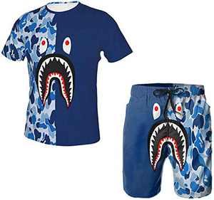 Men's 2021 Summer 2 Piece Set Outfits Bape Shark Trendy Camouflage Short-Sleeved T-Shirt Beach Pants Swim Trunks Suits-Navy-Large