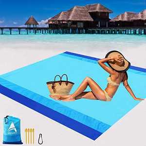 "AISPARKY Beach Blanket Oversized 82"" X79"" Sand Proof Beach Mat Outdoor Picnic Mat for Travel, Camping, Hiking"