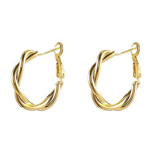 Gold Twist Hoop Earrings Minimalist Hoop Earrings for Women Girls 28mm/1.10inch