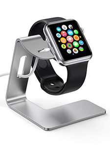 KWQ Charging Stand for Apple Watch Desk Watch Stand Holder Charging Dock Station Compatible with Apple Watch Series SE/Series 6/5 / 4/3 / 2/1 / 44mm / 42mm / 40mm / 38mm (Silver)