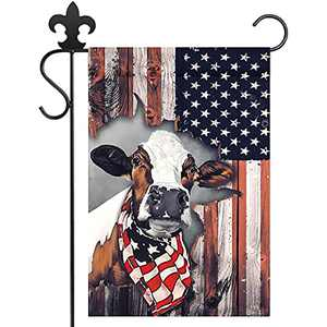 NERUXI Cow Celebrate 4th of July Garden Flag, Independence Day Garden Flag, Vertical Double-Sided Burlap Garden Flag Yard Outdoor Decoration Flag Farmhouse Decoration 12*18 Inch