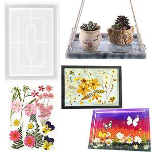 Large Rectangle Resin Rolling Tray Molds with Edge, GABOX Decorative Silicone Board Mold for Diy Epoxy Casting, Silicona Moldes para Bandejas de Resina - Dried Pressed Flowers for Craft Resin Supplies