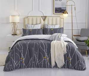HOMTTOM King Size Bedding Sets- Soft Cosy Kingsize Bedding Set Reversible Duvet Cover Sets Microfiber Bedding Sets (230cm x 220cm + 2 Pillowcases 50cm x 75cm - Grey)