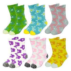 6 Pairs Kids Girls Crew Socks Cotton Fun Novelty Design Flower Ankle Socks Baby Toddler Socks (Flower 02, m)