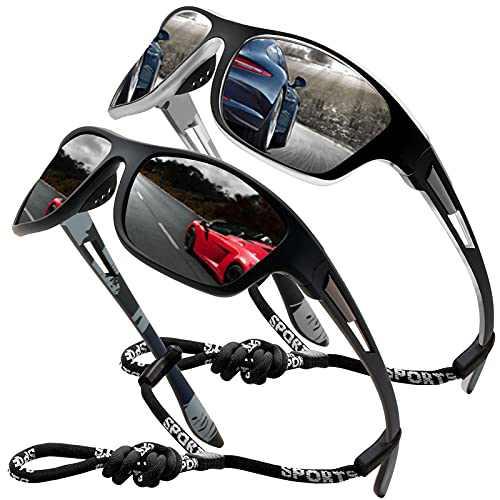 Sports Sunglasses Polarized Men Driving Cycling Fishing Running Sun Glasses UV400 Goggles Glasses rope (2pack (black/silver))