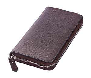 Travelambo Womens Large Capacity Wallet Bifold Ladies Cluth Long Purse (Coffee Cross with no strap)
