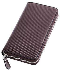Travelambo Womens Large Capacity Wallet Bifold Ladies Cluth Long Purse (Coffee Carbon with no strap)