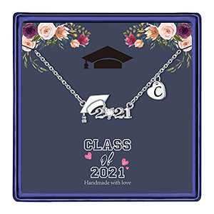Hidepoo 2021 Graduation Necklaces for Women, 14K White Gold Plated CZ Graduation Cap Necklace Graduation Gift Jewelry Heart Pendant Initial Necklace Letter C Necklace Graduation Gifts for Women