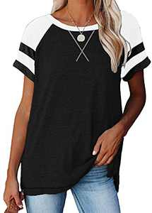 Women's Short Raglan Sleeve Crewneck Shirts Loose Casual Color Block Tee T-Shirt (Y Black, XX-Large)