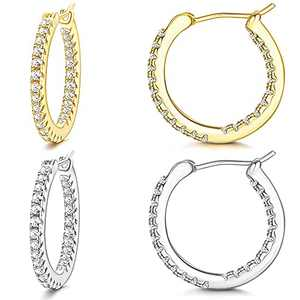 Ubjuliwa 2 Pairs Gold Hoop Earrings Set for Women Cubic Zirconia Shiny Classic Daily Earring Huggie Lightweight Cute Round Hoop Earrings Full Size(15mm-50mm)