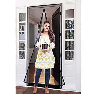Magnetic Screen Door Mesh Curtain Front Door Screen ,Heavy Duty,Fiberglass Screen Door with Full Frame Hook&Loop Fits Door Size up to Inch Max,Grey (Fits Door Size 35x82 Inch)
