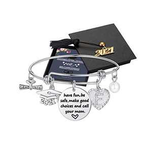 Graduation Gifts for Her, Seniors High School Class of 2021 Graduation Gifts for Best Friend, Silver Inspirational Meaningful F Initial Heart Graduation Bracelets for Women Girls Gifts Jewelry