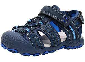 Ahannie Boys Girls Outdoor Sport Sandals,Kids Closed Toe Beach Sandals, Toddler Summer Sandals(Y118-Navy)