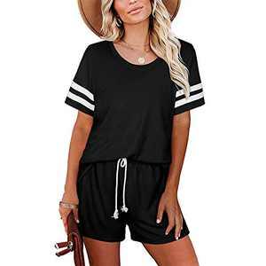 Aisbei Women 2 Piece Lounge wear Sweatsuit Summer Casual Shorts Outfits Pajamas Sets Black M