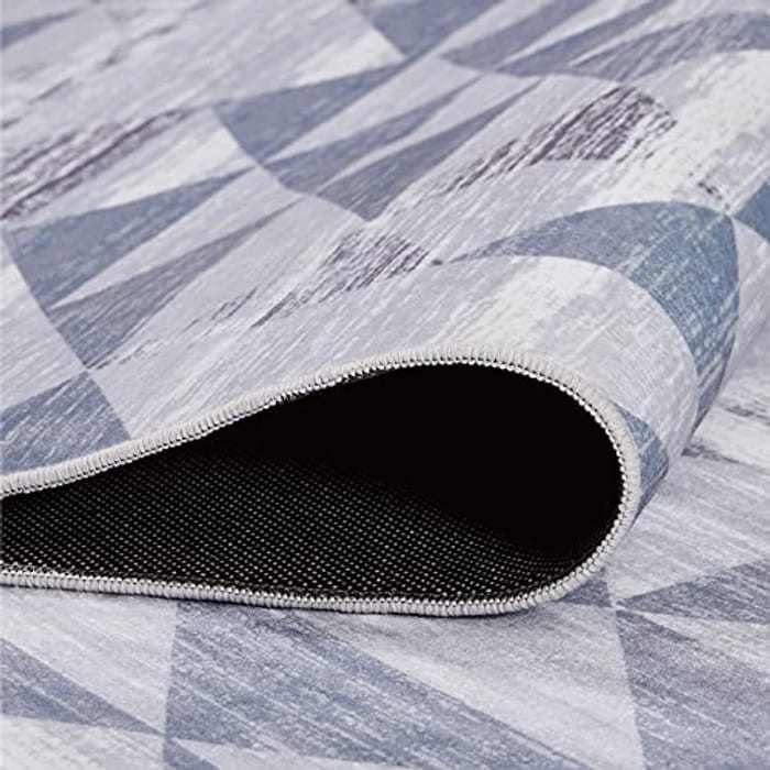 BEDSURE Grey Bedroom Large Rug - Washable Anti Slip Carpet for Living Room, Diamond Pattern, 160cm x 230cm