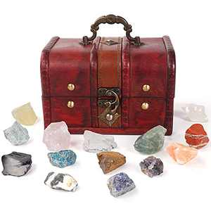Soulnioi 14PCS Crystals and Healing Stones Gift Set + Retro Cute Wooden Box, Energy Crystals for Meditation, Yoga, Wicca, Tumbling, Fountain Rocks, Decoration, Polishing, Girlfriend, Beginners