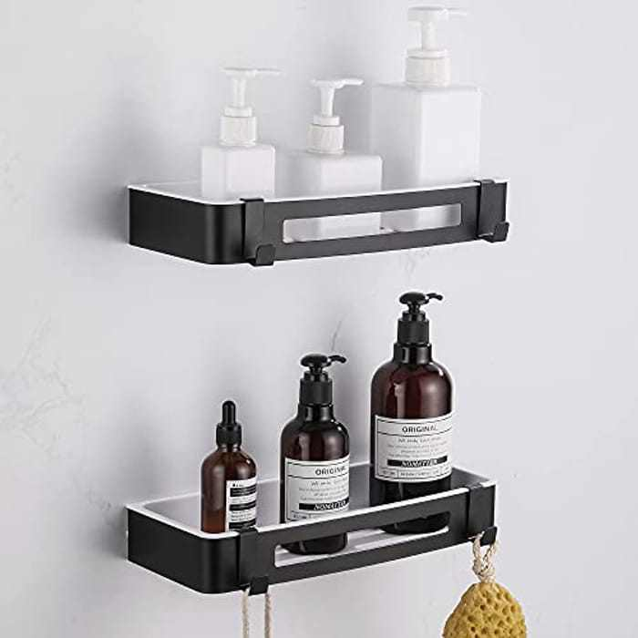 DUFU Shower Corner Shelf Accessory No Drilling Self Adhesive Wall Mounted SUS304 Steel and ABS Plastic Rustproof Shower Caddy Storage Basket with Hooks for Bathroom Kitchen Organizer 2pcs Black