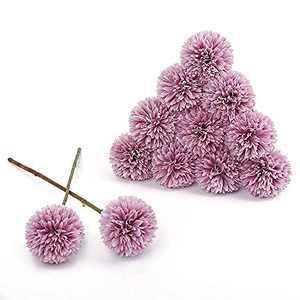 Artificial Chrysanthemum Ball Purple Flowers 12pcs IPOPU Ball Flowers Centerpieces Floral Arrangement Bouquet for Decoration Home Office Coffee House Parties and Wedding Decoration (Purple)