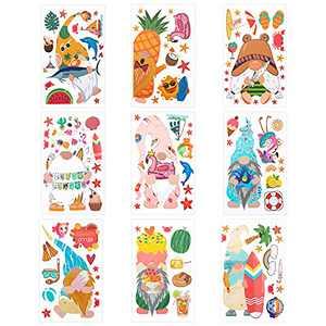 9 Sheets Summer Gnome Static Window Clings- Double Sided Sea Beach Themed Faceless Doll Fruit Window Decals Stickers in 9 Styles Party Favors for Summer Home Cafe Restaurant Glass Door Window Decors