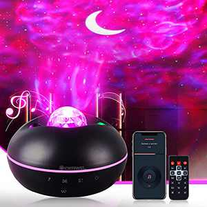 GIDERWEL Star Projector Light,Galaxy Projector with Bluetooth Music Speaker,Time Setting,3 in 1 Ocean Wave Galaxy Star Night Light Projector for Bedroom Home Theater & Party,Ambiance Lighting