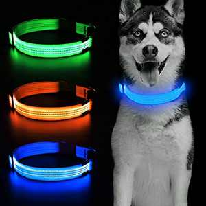Candofly Rechargeable LED Dog Collars - Glow in The Dark Dog Lights Durable Nylon Lighted Collars for Small Medium Large Dogs Keep Your Pets Be Visible & Safe at Night (Blue, Large)
