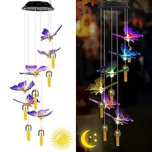 ZHANGPUGAVIN Wind Chime, Solar Wind Chimes for Outside, Butterfly Wind Chimes Changing Colors, Hanging Mobile Solar Butterfly Lights Outdoor Waterproof LED Light Porch Deck Garden Patio Decor