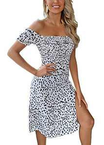 Ohvera Women's Casual Off Shoulder Puff Sleeves Leopard Print Ruched Wrap Midi Dress White Large