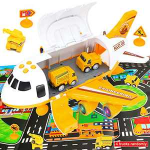 Edjose Transport Cargo Airplane Toy Play Set with City Play Mat, Educational Engineer Plane Toys for 3+ Year Old Boys Girls Gift Develop Kids Imagination, Engineering Yellow Plane Set
