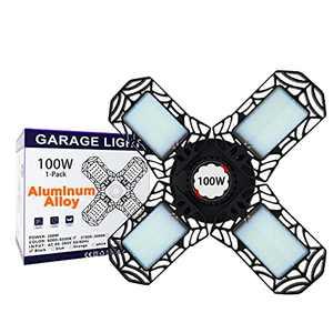 Led Garage Lights 100W Aluminum - 10,000LM 6500K LED Three-Leaf Garage Ceiling Light Fixtures, Deformable Work Shop Light for Basement, Warehouse