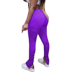 FJPTREN Women's Casual Stacked Pants Drawstring Bell Bottom Flare Leggings Lounge Workout Jogging Trousers Purple