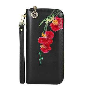 WILD WORLD Leather Wrist Wallet and Embossed Purse for Women (Orchid-Red)