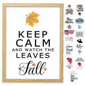 Farmhouse Wall Decor Sign with 12 Interchangeable Pictures for Fall Decor for Home & Halloween Decorations - Easy To Hang 13x17'' Wooden Picture Frame with 12 Design Prints - Exquisite Summer Fall Winter Decor for Your Home -4