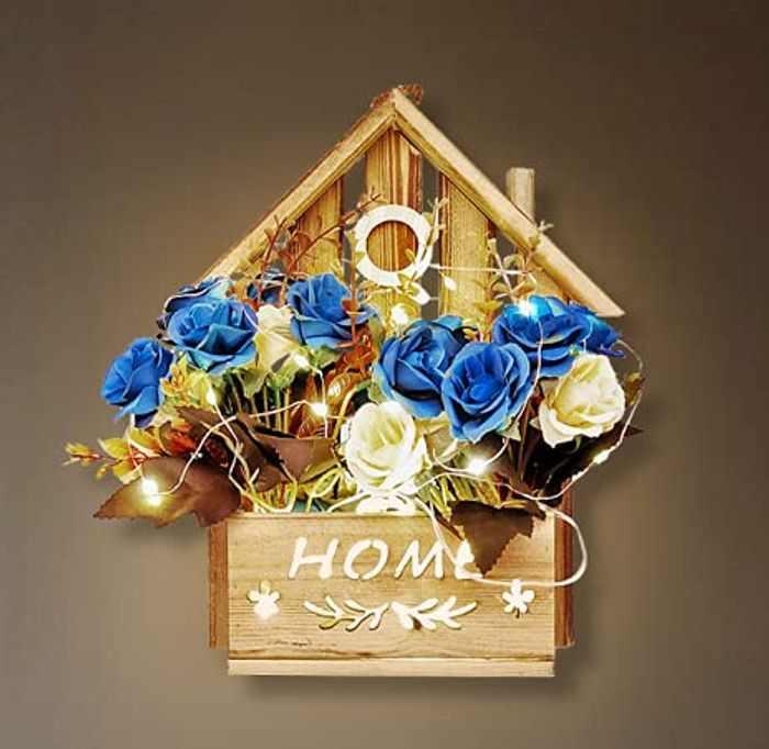 KELINGO Artificial LED Blue Rose Flowers with Wooden House, Welcome Sign Porch Decor, Rustic Wooden Door Hangers Front Door Outdoor Hanging Vertical Sign