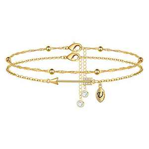 Yoosteel 2021 Graduation Gifts Ankle Bracelets, 14K Gold Plated Graduation Anklets Quote Inspirational Gold Anklets for Women College Graduation Gifts for Him Her 2021 High School Unique Gifts