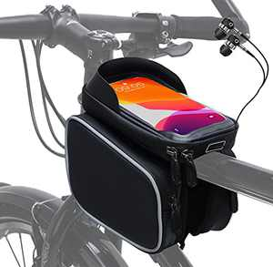 "Bike Phone Front Frame Bag Waterproof Bike Phone Mount Top Tube Handlebar Bags Mountain Bicycle Accessories with Sensitive Touch Screen Large Storage Phone Holder for 6.5"" iPhone 12 11 Plus Xs Max"