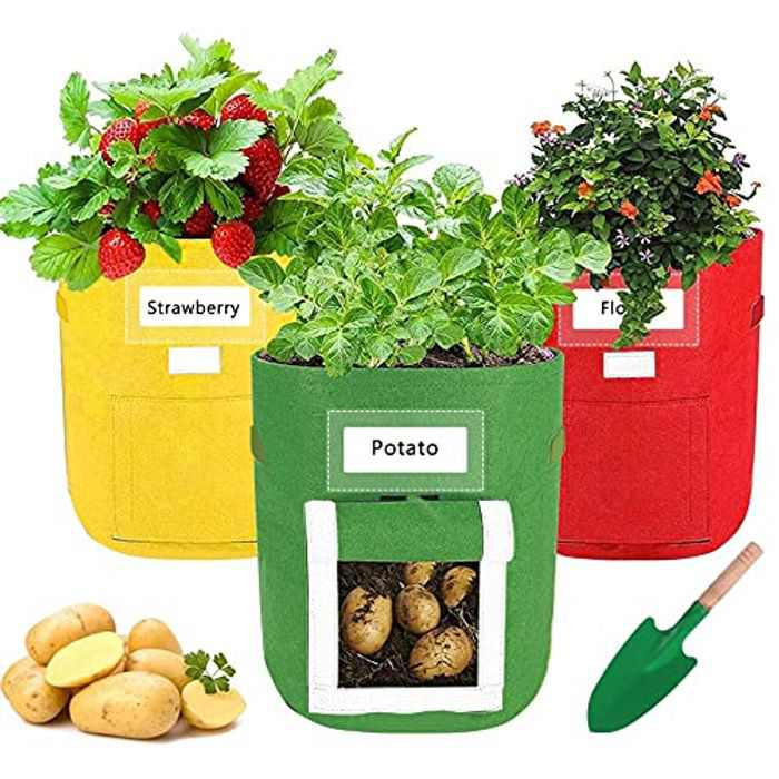 3 Pack Potato Grow Bags with 1 Shovel,10 Gallon Breathable Growing Bags for Vegetable,Garden Plant Bag with Visualized Window and Handles for Tomato, Potato,Carrot (Yellow,Green,Red)
