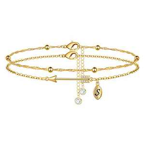 Yoosteel 2021 Graduation Gifts Ankle Bracelets for Women, Layered Gold Anklets for Women Inspirational Ankle Bracelets College Graduation Gifts for Her Him Layered Ankle Bracelets for Women