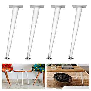Mocomax Coffee Table Legs, Adjustable Metal Furniture Legs for Coffee Dressing Side Table Tapered & Angle 16 Inch Set of 4 White