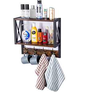 2 Tier Floating Shelf with 4 Hooks, Wall Mounted Rustic Floating Storage Shelf, Wood & Metal, for Kitchen, Bathroom, Study Room, etc.
