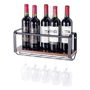 Rustic Wall Mounted Wine Rack, Metal & Wood, Bottle Storage Glass Holder, Store Red, White, Champagne, Dining & Kitchen Decor