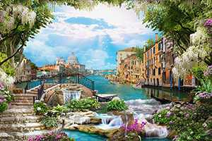 """Wonido Jigsaw Puzzles 1000 Pieces for Adults & Kids, Flowers & Waterfalls - 27""""x 20"""" Jigsaw Puzzle 1000 with Poster - Intellective Educational Fun Game for Kids & Adults, Paper Puzzle DIY Home Decor"""