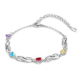 Kaululu Personalized Name Bracelet for Women with 4 Birthstones & Customize 4 Names,Silver Bracelets for Women,Personalized Gifts for Women,Charm Bracelets for Mother Days Gift