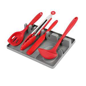 RRLOM Utensil Rest & Spoon Rest, Silicone Kitchen Multi Utensil Rest with Drip Pad, Heat-Resistant, BPA-Free for Ladles, Tongs & More. (Grey)
