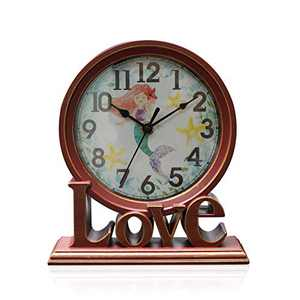 clumsy pets 6.5 Inches Table Clock, Vintage Non-Ticking Love Table Desk Clock Battery Operated with Quartz Movement HD Glass for Kids Bedroom Living Room Office