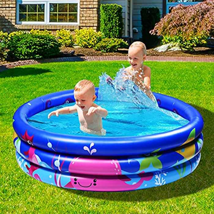 Joy joz Family pool, Children's Pool for swimming, playing sleeping, Children's above-ground pool, paddling pool, inflatable bathtub, 3-ring embossing (120 cm, blue) (Multi)