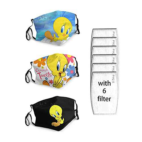 3 Packs Cloth Bandanas With 6 Filters Funny Face Mask Face Masks For Kids Adults Face Mask Breathable Washable Reusable Tweety_Bird Looney_Tunes