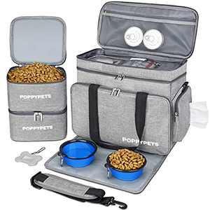 POPPYPETS Dog Travel Bag with Multi-Function Pockets, 2 Silicon Travel Dog Bowls, 2 Dog Food Storage, Water-Resistant Placemat, Gray