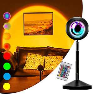Sunset Lamp Projector with Remote Control, Sunset Light Projection,16 Static / 4 Dynamic Colors,Sunlight lamp, USB Night Light,Romantic Floor Lamps for Home Party Bedroom Living Room Decors