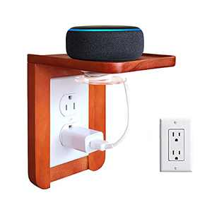 NIUXX Wall Outlet Shelf with Magnetic Cord Management, Wooden Bathroom Outlet Shelf with 2 Outlet Covers, Ideal for Echo Alexa, Smart Home Speakers, Toothbrush, Space-Saving Wall Stand Accessories